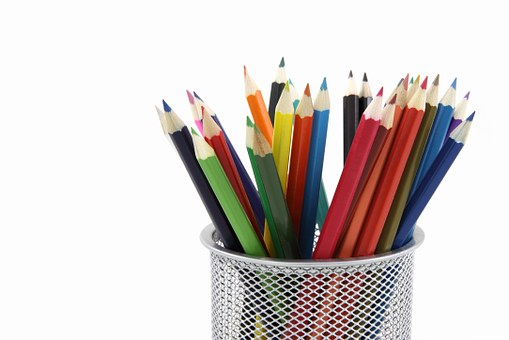 Decorate your office stationery equipment different coloured pencils